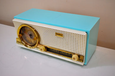 Chalfonte Blue Retro Jetsons 1960 Truetone D2801 Tube AM Clock Radio Sounds Great! Looks Fantastic!