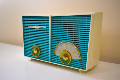Turquoise and White Chevron  Retro Jetsons Vintage 1957 Philco H836-124 AM Vacuum Tube Radio Near Mint!
