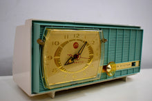 Load image into Gallery viewer, Turquoise and White Retro Jetsons Vintage 1957 RCA Victor Model C-3HE AM Vacuum Tube Radio