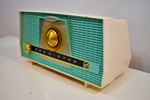 Turquoise and  White RCA Victor Model 4-XHE AM Vacuum Tube Radio Works Great Twin Speakers!