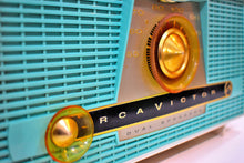 Load image into Gallery viewer, Turquoise and  White RCA Victor Model 4-XHE AM Vacuum Tube Radio Works Great Twin Speakers!