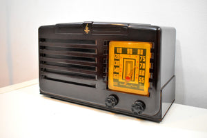 Umber Brown Bakelite 1940 Emerson Model 333 AM Tube Radio Sounds Marvelous! Awesome Condition!