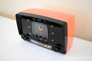 Pink and Licorice 1955 Westinghouse Model H550 Vintage Tube AM Clock Radio Cutie and Rare Colors!