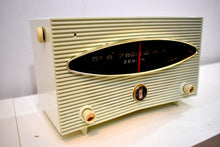 Load image into Gallery viewer, Moon Base White 1956 Zenith Model A615F Vacuum Tube AM Radio Sputnik Period Headturner!