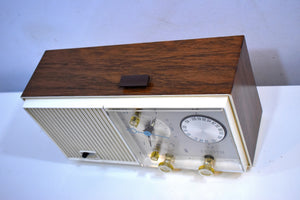 Wood Grained and White Beauty Mid Century 1961 Zenith AM/FM Solid State Clock Radio Excellent Condition!