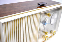Load image into Gallery viewer, Wood Grained and White Beauty Mid Century 1961 Zenith AM/FM Solid State Clock Radio Excellent Condition!