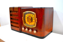 Load image into Gallery viewer, Grand Daddy Red Mahogany Wood 1939 Firestone S-7398-3 Vacuum Tube AM Shortwave Radio Extremely Rare Woody Sounds Beautiful!