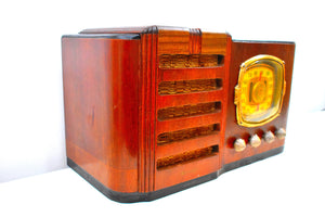 Grand Daddy Red Mahogany Wood 1939 Firestone S-7398-3 Vacuum Tube AM Shortwave Radio Extremely Rare Woody Sounds Beautiful!