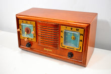 Load image into Gallery viewer, Honey Chestnut Wood 1952 Firestone 4-A-110 Vacuum Tube AM Clock Radio Superlative and Sounds Great!