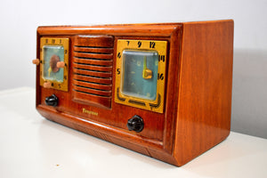 Honey Chestnut Wood 1952 Firestone 4-A-110 Vacuum Tube AM Clock Radio Superlative and Sounds Great!