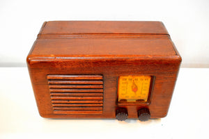 Bluetooth Ready To Go - Wood Vintage 1940s Homestead Model Unknown AM Vacuum Tube Radio Nice Little Woody