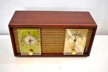 Load image into Gallery viewer, Real Wood Cabinet Mid Century 1963 Zenith Model X390 AM FM Vacuum Tube Clock Radio Excellent Condition!