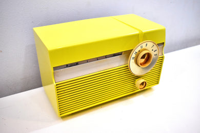 Limon Yellow Mid Century 1959 Philco Model F813-124 Rare Vacuum Tube AM Radio Cuteness Overload!