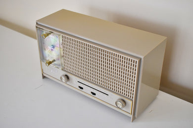 Sandalwood Beige Mid Century 1965 Zenith A-462-L AM/FM Vacuum Tube Radio Sounds Great!