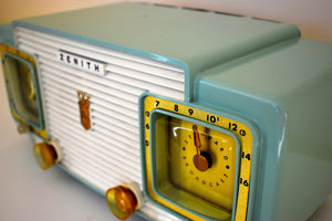 Lime Green and White 1957 Zenith Model A515F AM Vacuum Tube Radio Rare Color Combo Sounds Fantastic!
