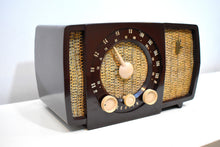 Load image into Gallery viewer, Savanna Brown and White 1955 Zenith Y724 AM/FM Tube Radio Gorgeous and Sounds Magnifico!