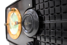 Load image into Gallery viewer, Carbon Black Bakelite Post War 1952 Esquire BF Goodrich Model 550U AM Tube Clock Radio Works Great Rare Manufacturer!