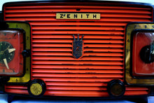 Load image into Gallery viewer, Marzano Red Orange 1953 Zenith Model L622F AM Vintage Tube Radio Gorgeous Looking and Sounding!