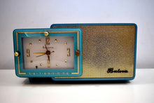 Load image into Gallery viewer, Turquoise and Gold 1959 Bulova Model 100 AM Antique Clock Radio Simply Fabulous!