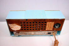 Load image into Gallery viewer, Celeste Blue Mid Century 1952 Firestone Model 4-A-127 Vintage AM Radio Absolutely Stunning!