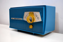 Load image into Gallery viewer, Cobalt Blue 1960 Motorola Model A9B Vacuum Tube AM Radio Mint Condition Little Screamer!