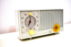 Bluetooth Ready To Go - Pastel Gray Blue RCA Victor 1965 AM Vacuum Tube Clock Radio Model RFD11A Sounds and Looks Great!