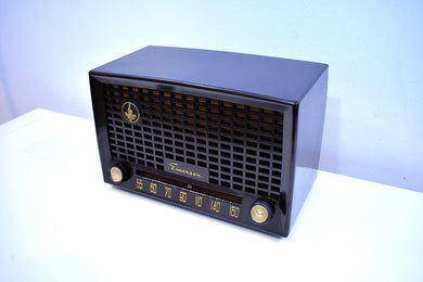 Mahogany Brown Bakelite 1950 Emerson Model 653-B AM Vacuum Tube Radio Sounds Amazing!