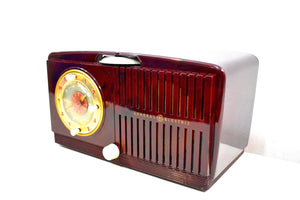Burgundy Swirly Vintage 1952 General Electric Model 515F AM Tube Clock Radio Totally Mint Classy Looking!