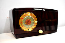 Load image into Gallery viewer, Burgundy Swirly Vintage 1952 General Electric Model 515F AM Tube Clock Radio Totally Mint Classy Looking!