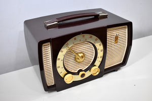 Cabana Brown Mid Century 1955 Zenith Y724 AM/FM Vacuum Tube Radio Popular Model!