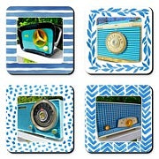 Set of Rare Radio Drink Coasters in Blue