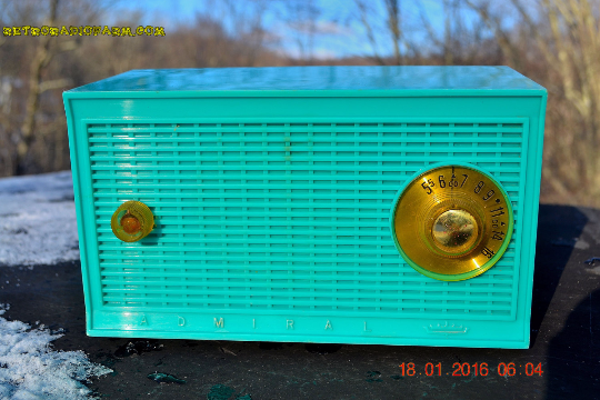 SOLD! -April 4, 2016 - BLUETOOTH MP3 Ready - Aquamarine Retro Mid Century Vintage 1959 Admiral Model Y838 AM Tube Radio Totally Restored!