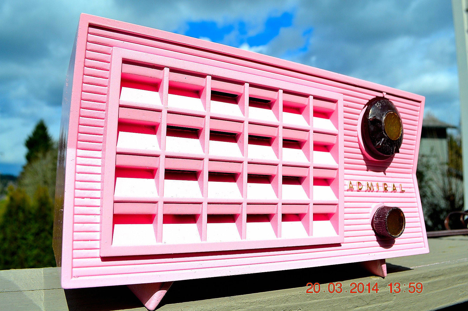 SOLD! - March 26, 2014 - BEAUTIFUL PINK Retro Vintage Atomic Age 1955 Admiral 5S38 Tube AM Radio Works! - [product_type} - Admiral - Retro Radio Farm