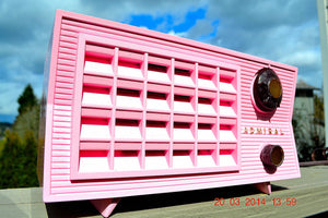 SOLD! - March 26, 2014 - BEAUTIFUL PINK Retro Vintage Atomic Age 1955 Admiral 5S38 Tube AM Radio Works! , Vintage Radio - Admiral, Retro Radio Farm  - 1