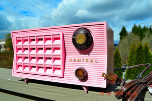 SOLD! - March 26, 2014 - BEAUTIFUL PINK Retro Vintage Atomic Age 1955 Admiral 5S38 Tube AM Radio Works! , Vintage Radio - Admiral, Retro Radio Farm  - 2