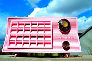 SOLD! - March 26, 2014 - BEAUTIFUL PINK Retro Vintage Atomic Age 1955 Admiral 5S38 Tube AM Radio Works! , Vintage Radio - Admiral, Retro Radio Farm  - 3