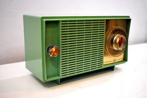 Leaf Green 1959 General Electric Model T129 AM Vintage Radio Mid Century Personality and Sounds Great!