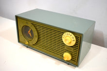 Load image into Gallery viewer, Bluetooth Ready To Go - Avocado Vintage 1955 Admiral Model Y1189 AM Vacuum Tube Clock Radio Nice Looking and Sounding!