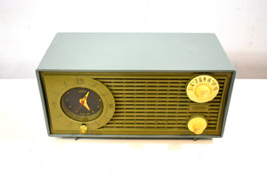 Bluetooth Ready To Go - Avocado Vintage 1955 Admiral Model Y1189 AM Vacuum Tube Clock Radio Nice Looking and Sounding!