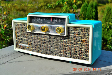 MING BLUE Retro Jetsons Vintage 1959 Silvertone 9009 AM Tube Radio Totally Restored! - [product_type} - Silvertone - Retro Radio Farm