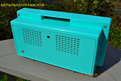 SOLD! - Dec 2, 2015 - BLUETOOTH MP3 READY - AQUAMARINE BLUE Retro Jetsons Vintage 1959 Arvin 2585 AM Tube Radio WORKS! , Vintage Radio - Arvin, Retro Radio Farm  - 5