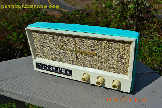 SOLD! - Dec 2, 2015 - BLUETOOTH MP3 READY - AQUAMARINE BLUE Retro Jetsons Vintage 1959 Arvin 2585 AM Tube Radio WORKS! - [product_type} - Arvin - Retro Radio Farm
