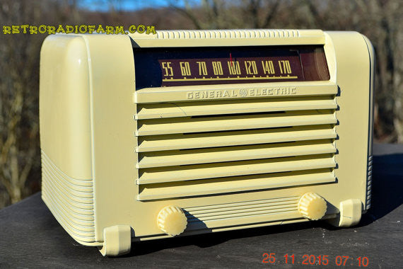 SOLD! - Jan 8, 2017 - ART DECO 1941 GE General Electric Model J-602 AM Ivory Bakelite Tube Radio Totally Restored! - [product_type} - General Electric - Retro Radio Farm