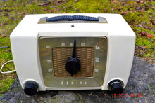 Load image into Gallery viewer, SOLD! - Sept 18, 2016- BLUETOOTH MP3 READY - White Chocolate Retro Mid Century Deco Vintage 1951 Zenith H615 AM Tube Radio Sounds Great!