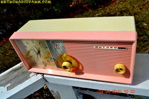 SOLD! - Apr 28, 2016 - BLUETOOTH MP3 READY - Pastel Pink Retro Jetsons 1958 Motorola Model 5C24PW Tube AM Clock Radio Totally Restored! - [product_type} - Motorola - Retro Radio Farm