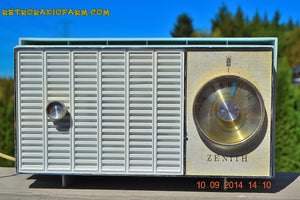 SOLD! - Nov 26, 2014 - SONIC BLUE Retro Vintage Jetsons 1959 Zenith N508B AM Tube Radio WORKS! - [product_type} - Zenith - Retro Radio Farm