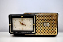 Load image into Gallery viewer, Anthracite 1957 Bulova Model 120 Vacuum Tube AM Clock Radio Excellent Condition! Sounds Great!