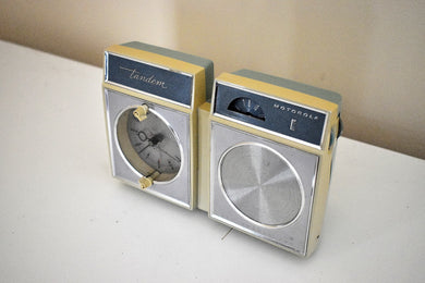 Pastel Blue Mid-Century 1963 Motorola Tandem Model CX2B Solid State AM Clock Radio Detachable Portable Radio!