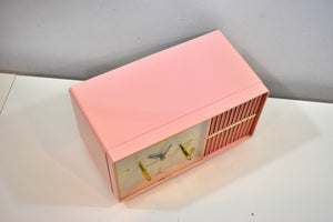 Pretty in Pink 1950s Philco AM Vacuum Tube Clock Radio Rare Never Before Seen Lighted Tuning Knob!
