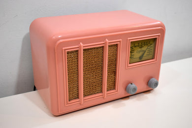 Cameo Pink Art Deco Plaskon 1938 Gilfillan Model 5B8 AM Vacuum Tube Radio Wow!